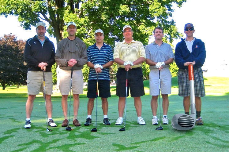 "From left to right: Mike ""Lefty"" Zimmerman, Rob ""The Glacier"" Twardock, Tom ""L.T."" Scaggs, Mike ""Scruffy"" Neuses, Keith ""No-Nickname"" Staggs, and Tom ""Serbo"" (""Big Stick"") Lessaris."
